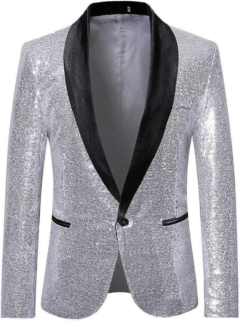 Chaqueta de Lentejuelas STRIR Trajes Hombre Chaquetas Americanas Charm Casual Un Botón Fit Suit Traje Blazer Abrigo Abrigo de Fiesta de Lentejuelas Chaqueta Outwear