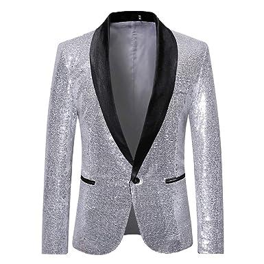 e8d5846c2f9c3 Tefamore-Hommes élégant Costume Solide de soirée de Mariage Blazer ...