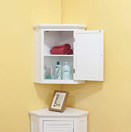 Amazon Com Corner Wall Cabinet Bathroom Mount Hanging Storage