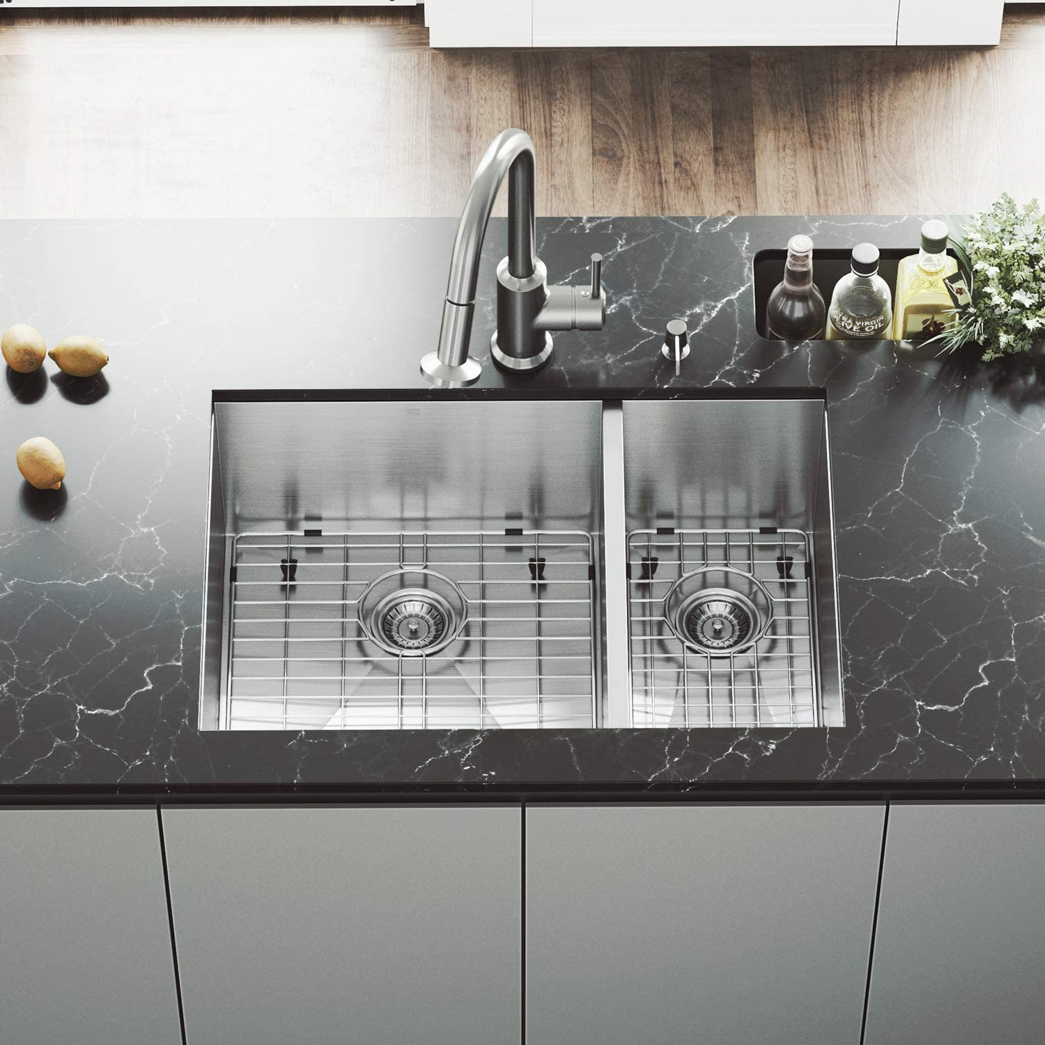 VIGO 29 inch Undermount 70 30 Double Bowl 16 Gauge Stainless Steel Kitchen Sink with Astor Stainless Steel Faucet, Two Grids, Two Strainers and Soap Dispenser