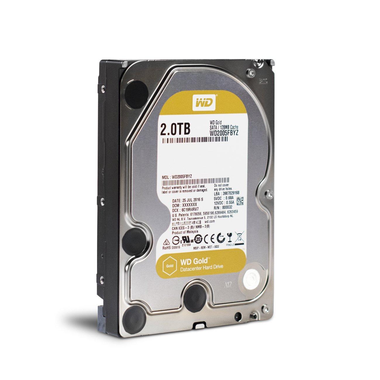 WD Gold 2TB Enterprise Class Hard Disk Drive - 7200 RPM Class SATA 6 Gb/s 128MB Cache 3.5 Inch - WD2005FBYZ by Western Digital
