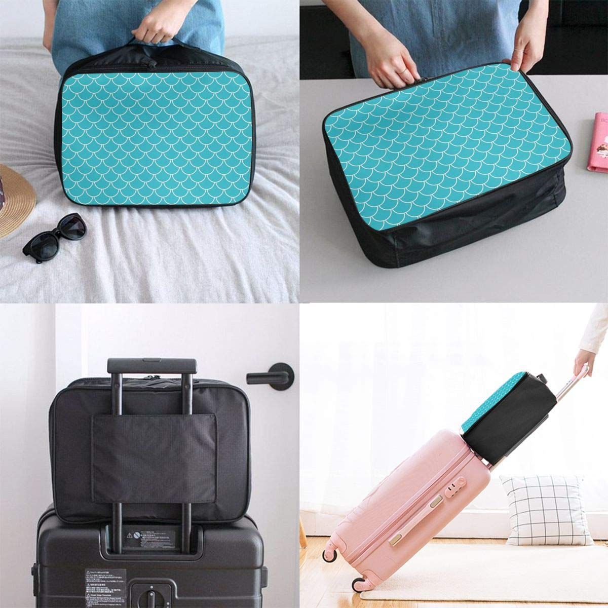 Travel Duffel Bag Waterproof Fashion Lightweight Large Capacity Portable Luggage Bag Teal Blue Mermaid Scales