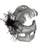 Venetian Silver Satin Feathered Half Mask on Glasses