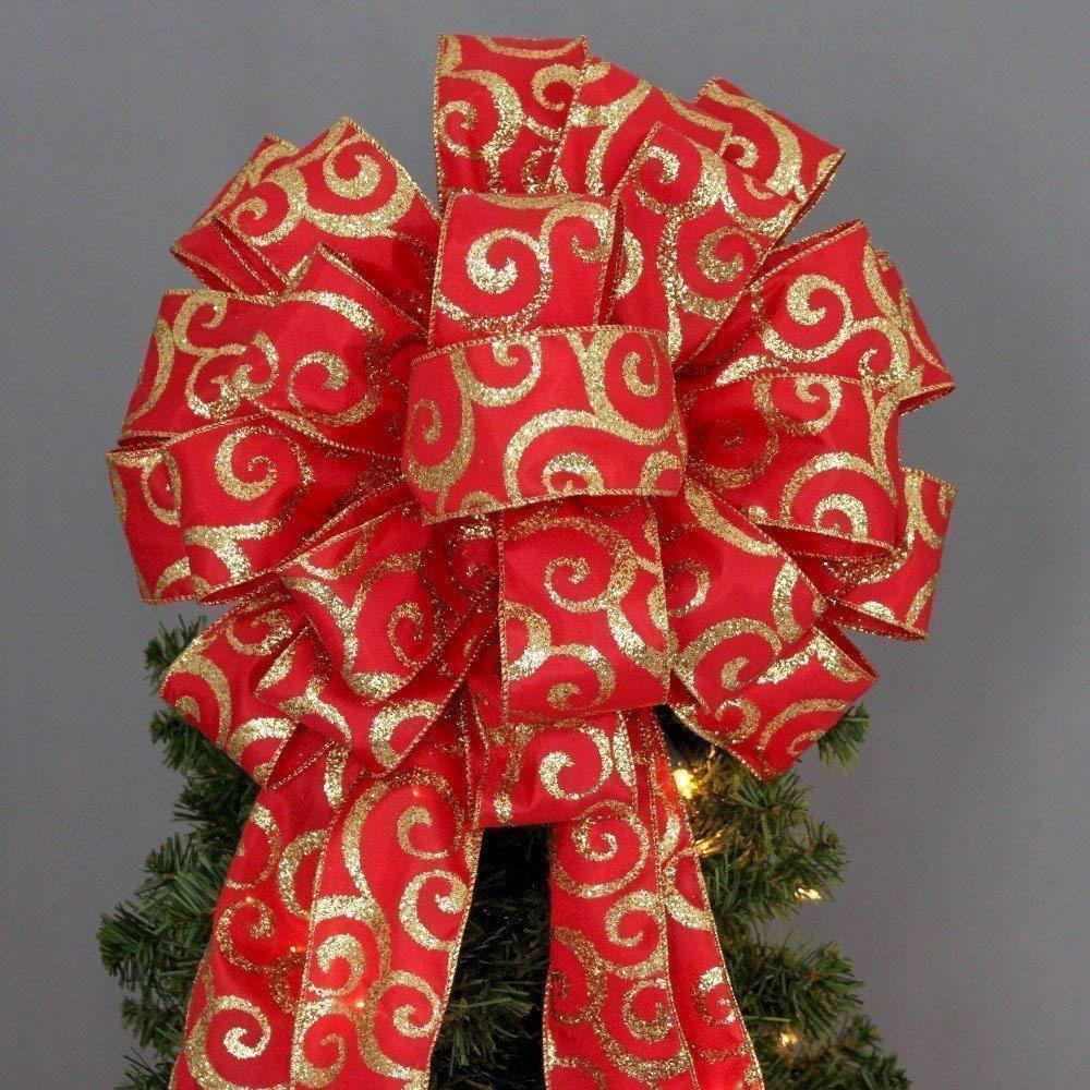 Red Gold Glitter Swirl Christmas Tree Topper Bow - 13