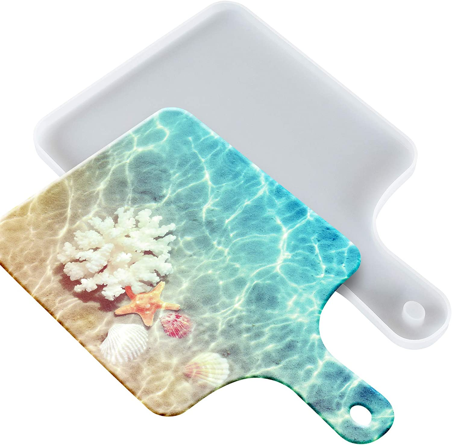 Tray Resin Molds, Serving Board Resin Molds,DIY Tray Molds for Epoxy Resin, Great for Home Decoration, Resin Ocean Wave Painting Art(Rectangle)