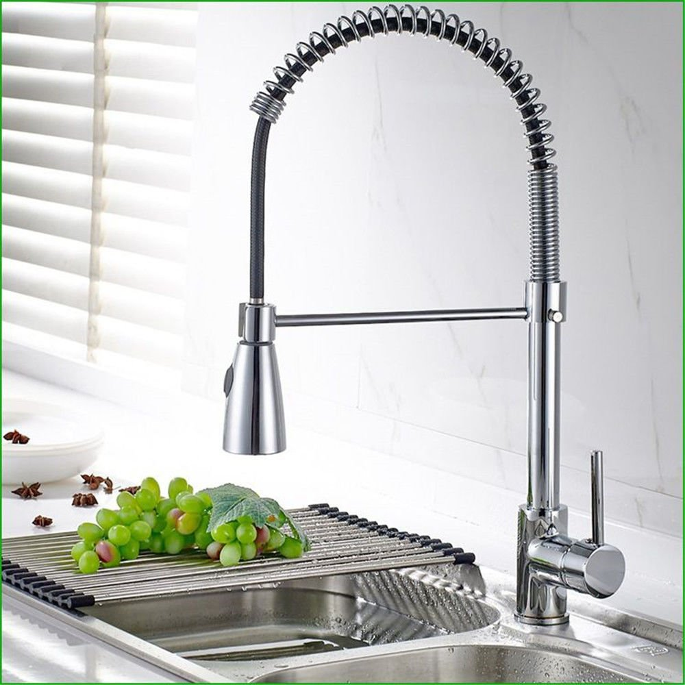 Commercial Single Lever Pull Down Kitchen Sink Faucet Brass Constructed Polished Copper Chrome-Plated Pull-Out Spring Kitchen Faucet redatable Faucet