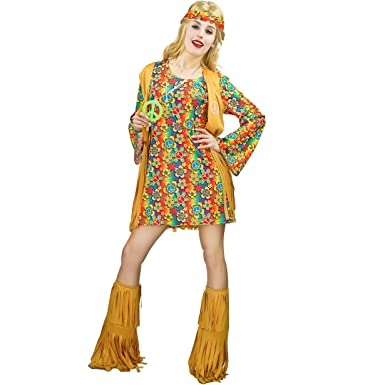 b523ea16cab Amazon.com  Women s Fringe Hippie Costume 60s 70s Dress  Clothing