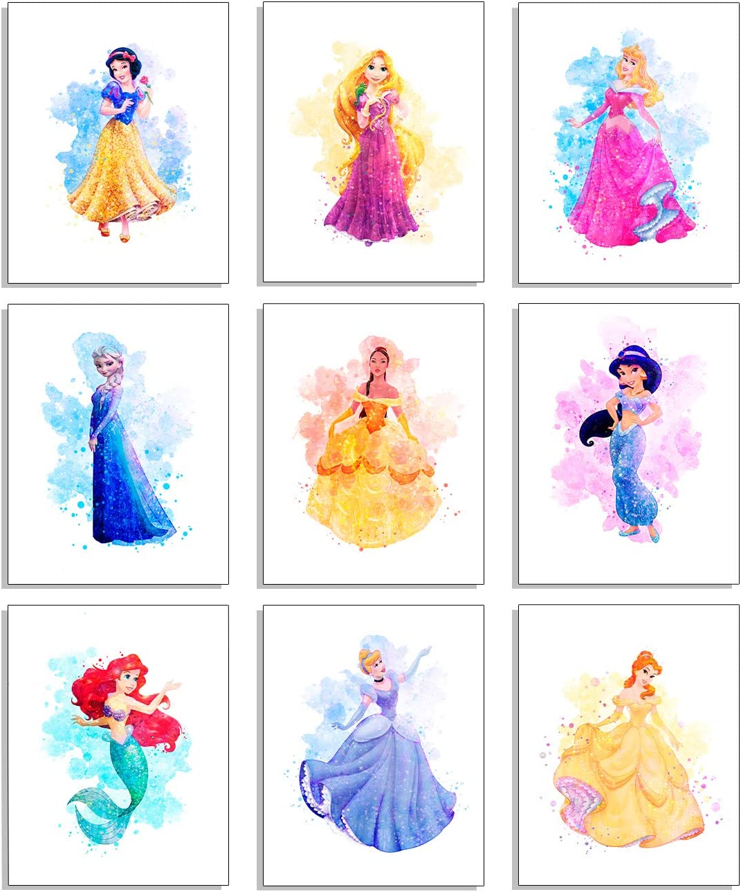 Princess Wall Art Decor Watercolor Prints - Unframed Set Of 9 (8 Inches X 10 Inches) - Princess Bedroom Decor, Princess Room Decor, Princess Wall Decor For Girls Bedroom