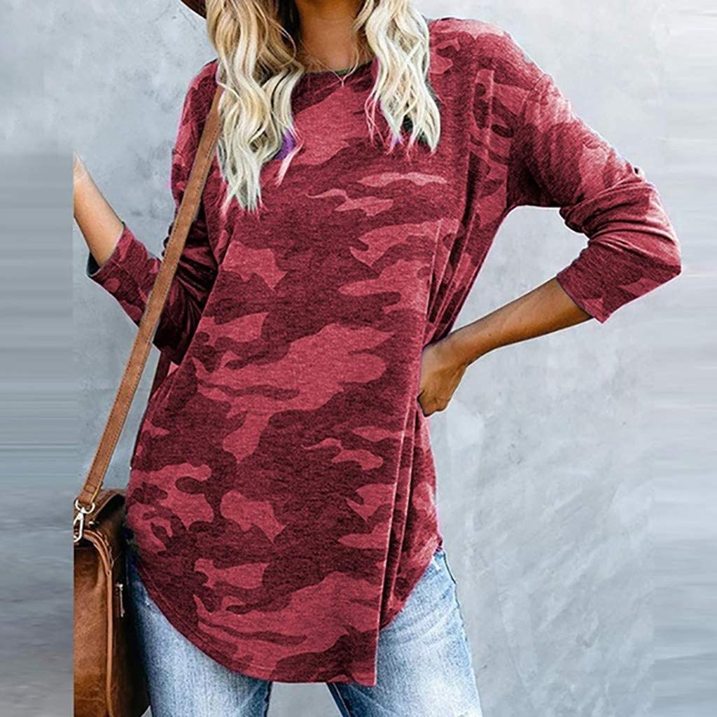 OSTELY Fashion Womens Pullover,Camouflage Print Long Sleeve Crew Neck Fit Casual T-Shirt Tops Blouse