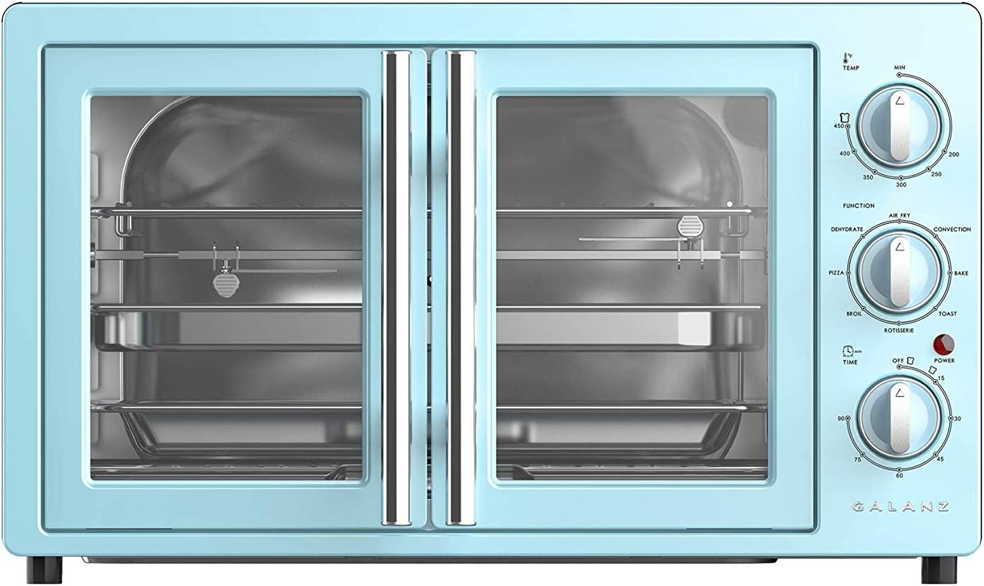 Galanz GRSK2A15BEMA18 42L Bebop Blue Air Fry Retro French Door Toaster Oven