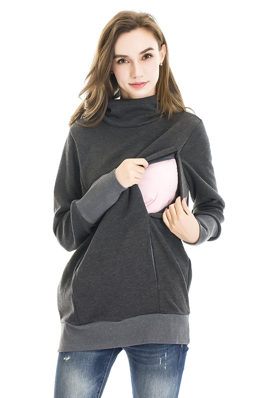 57bce469efb48 Amazon.com: Bearsland Women's Maternity Breastfeeding Hoodie Nursing  Sweatshirt with Kangaroo Pockets: Clothing