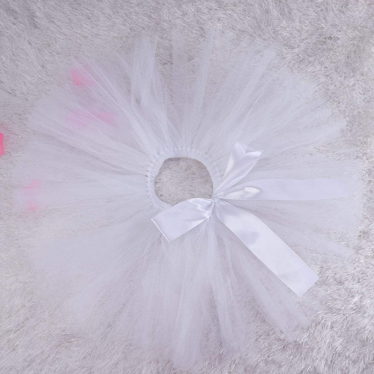wei/ß STOBOK Baby M/ädchen Tutu Rock Set mit Blume Stirnband Prinzessin M/ädchen Tutu Outfit Dress Up Rock Fotografie Prop f/ür Baby Kleinkind Geburtstag Party Outfit