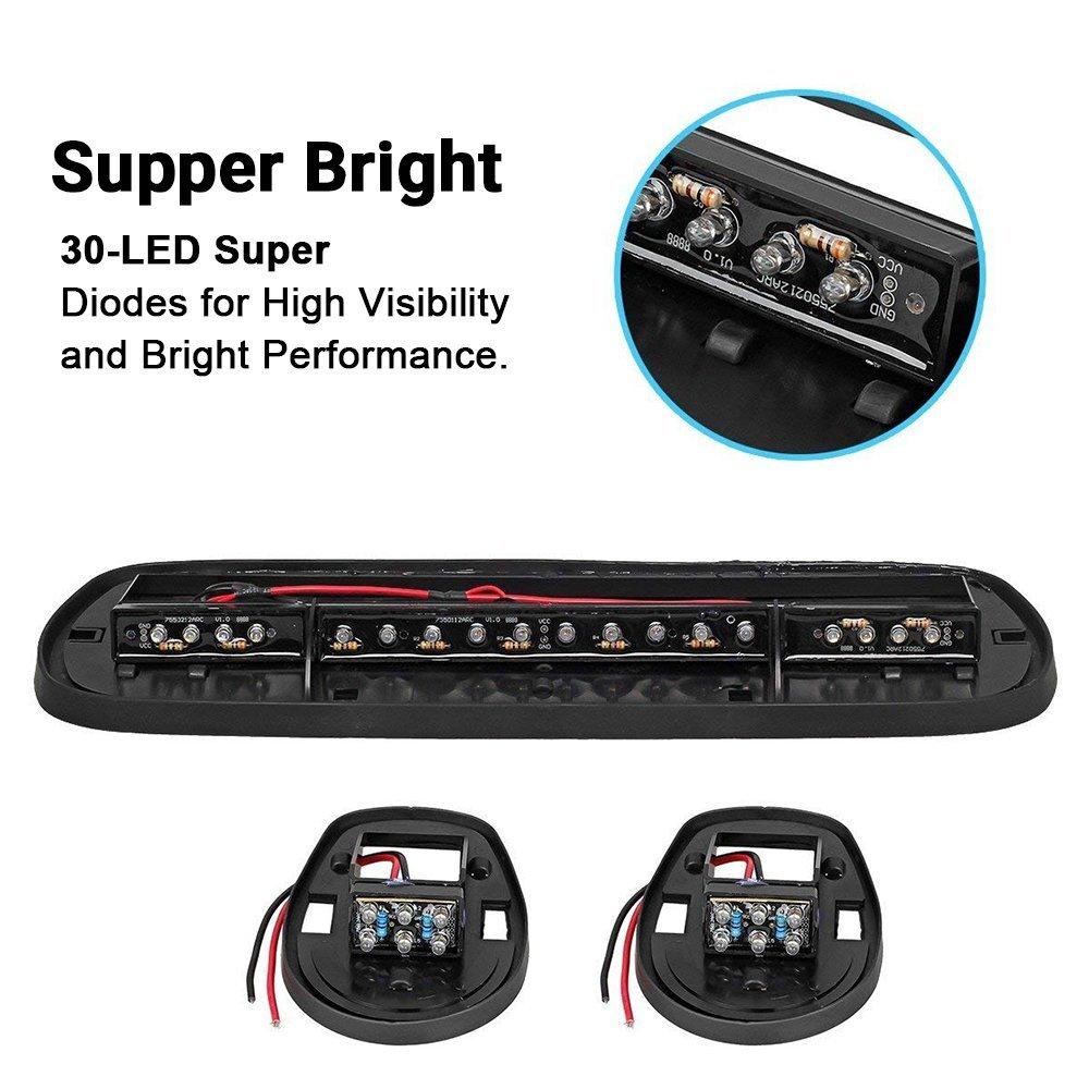3pcs Smoked Cover Cab Roof Top Marker Lights White 30 Led Running Wiring Harness Clearance With