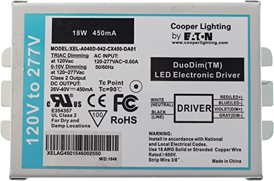 Cooper Xel A040d 042 Cx450 Da01 Dimming Led Driver Duodim 0 10v 26 40 Vdc 450ma 18w 120 277v Power Current Equipment Amazon Canada