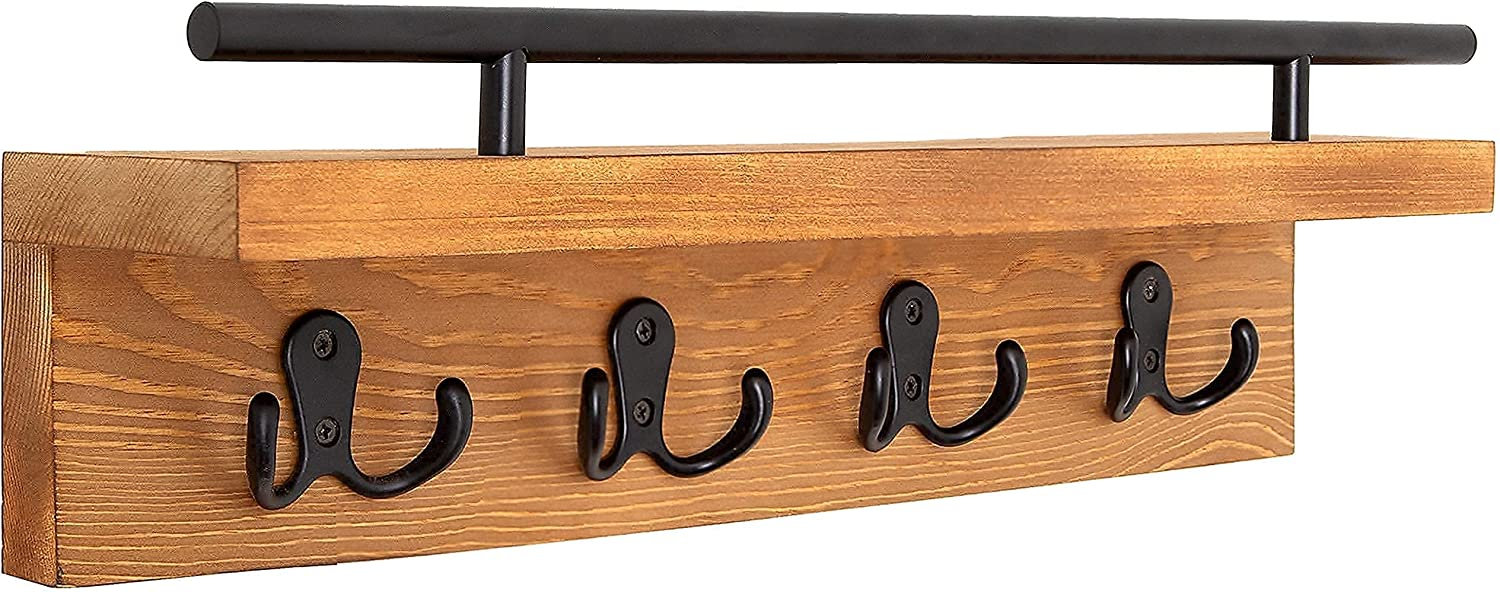 Ripple Creek Mail and Key Holder for Wall - Decorative Wooden Coat Rack, Hanging Wall Organizer for Keys, Bills, Living Room, Kitchen & Bathroom Decor - Rustic Entryway Hooks with Shelf for Home