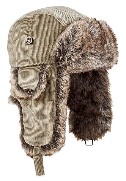 New men/'s ladies luxury sand colour faux fur winter trapper hat