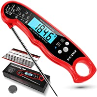"""KULUNER TP-01 Waterproof Digital Instant Read Meat Thermometer with 4.6"""" Folding Probe Backlight & Calibration Function…"""
