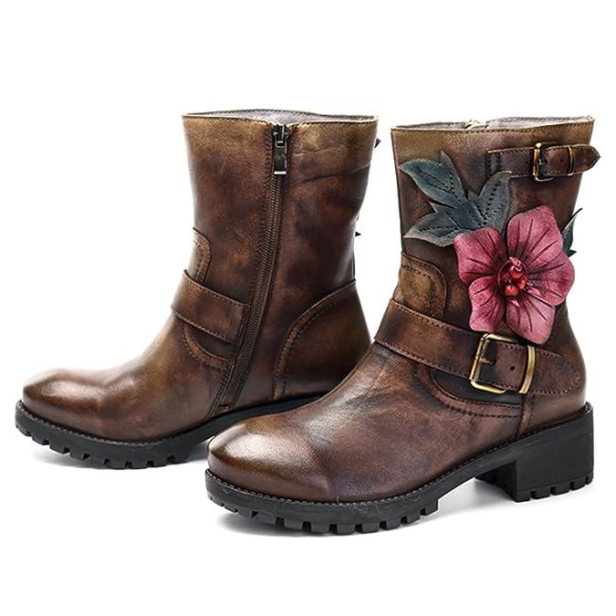socofy Botas Mujer, Mujer Invierno para Mujer Bordado de Piel Mocasines Casual Mid Pantorrilla Botas Zapatos de tacón Alto Piel Nieve Botas: Amazon.es: ...