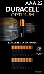 Duracell Optimum AAA Batteries   22 Count Pack   Lasting Power Triple A Battery   Alkaline AAA Battery Ideal for Household and Office Devices   Resealable Package for Storage