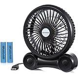 KEYNICE 超強風 USB 扇風機 18650電池給電も対応 デスクファン 冷風扇 卓上扇風機 3段階調節 3枚羽根 ブラック