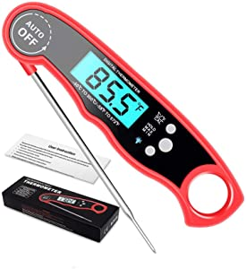 AWON Waterproof Digital Meat Thermometer for Cooking 2s Instant Read Meat Thermometer & Backlight for Kitchen Grill, BBQ, Food Steak, Turkey, Candy, Milk, Bath Water Oil Smoker (red)
