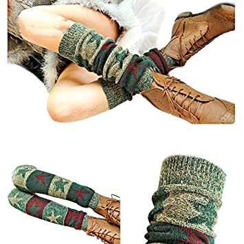 ZUMUii Butterme Ladies Girls Calcetines hasta La Rodilla de Invierno Knit Crochet Warm Leg Warmer(Verde Oscuro): Amazon.es: Hogar