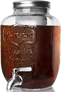 Lighten Life 1 Gallon Cold Brew Coffee Maker,Gallon Glass Cold Brew Maker,Cold Brew Dispenser with Stainless Steel Spigot and Removable Mesh Filter,Iced Brew Pitcher with Lid Easy to Pour and Clean