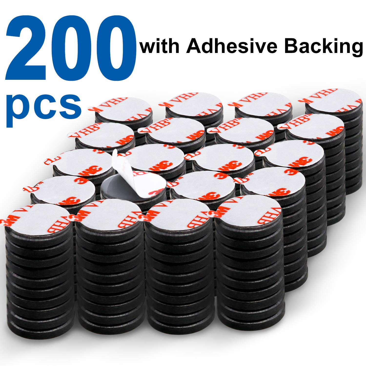 DIYMAG Powerful Ceramic Disc Magnets 200 Packs with Double-Sided Adhesive, Powerful Ceramic Industrial Magnets. Perfect for Fridge, DIY, Building, Scientific, Craft, and Office Magnets