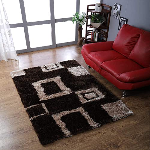 Rugsotic Carpets Hand Tufted Shag Polyester 9'x12' Area Rug Geometric Brown Beige K00001