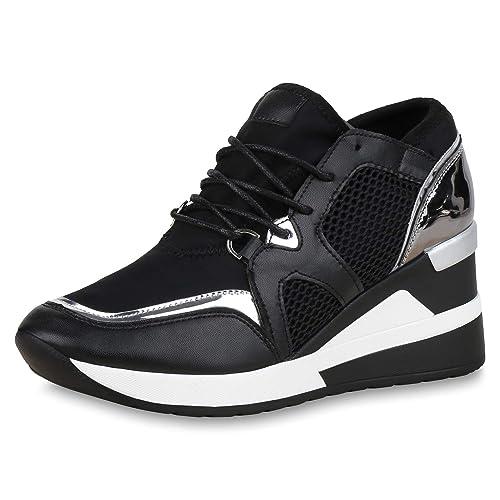 SCARPE VITA Damen Sneaker Wedges Prints Metallic