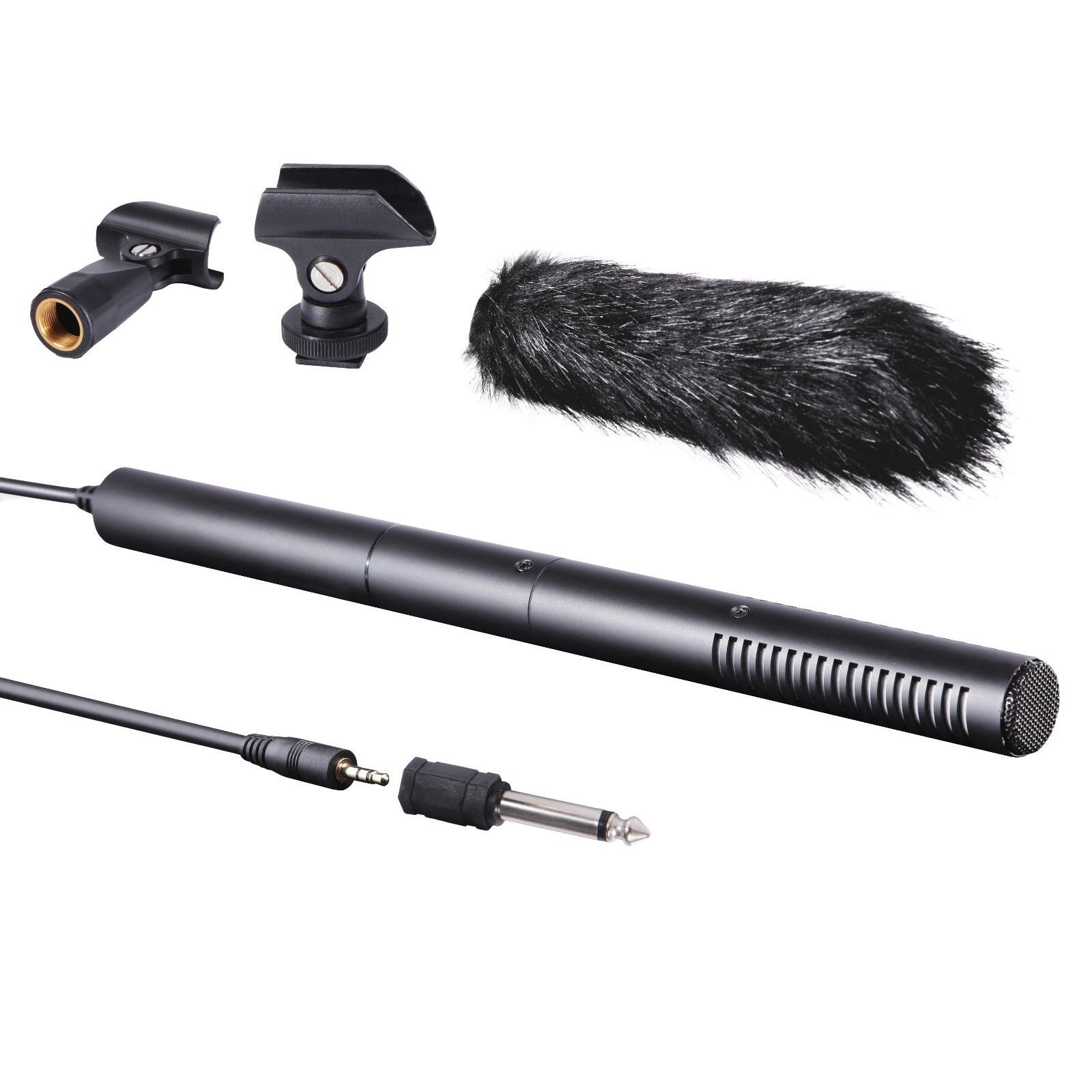 Movo VXR40 Supercardioid Broadcast Shotgun Condenser Microphone with Furry Windscreen, Boom Mount and Camera Mount