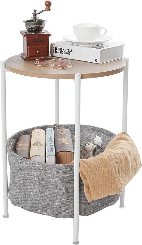 Mesa auxiliar de metal mesa auxiliar redonda bandeja extraíble bandeja exterior e interior bebida aperitivo mesa de café mesa de teléfono: Amazon.es: Hogar