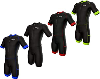 Sparx Short Sleeve Aero Compression Triathlon Suit Tri Suit Soft Chamois Skinsuit Team Tri Suit Swim Bike Neon