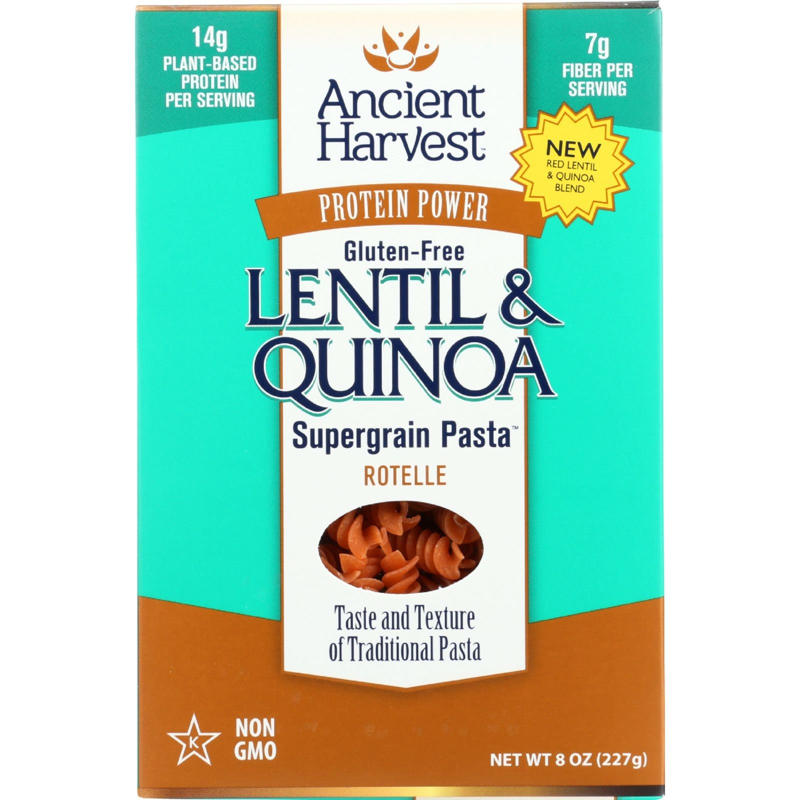 Ancient Harvest Pasta - Supergrain - Red Lentil and Quinoa Rotelle - Gluten Free - 8 oz - case of 6 - - Gluten Free - - - - by Ancient Harvest