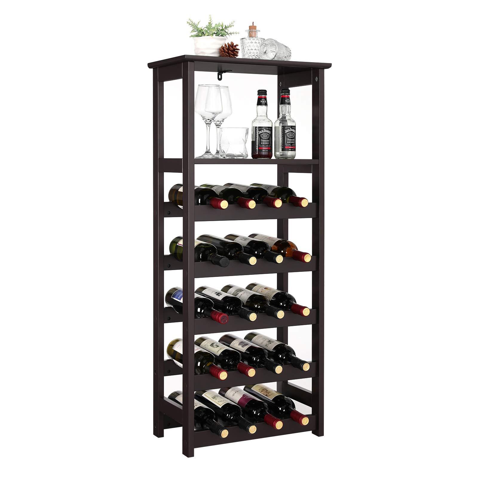 VASAGLE 20 Wooden Wine Rack, Free Standing Bottles Display Storage Shelf, with 2 Slatted Shelves,18.4''L × 10.4''W × 42.9''H, Espresso ULWR03BR