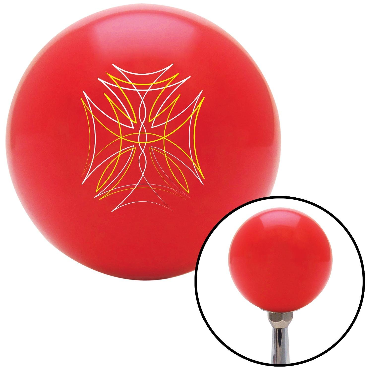 White and Yellow Pinstripe 2 American Shifter 150513 Red Shift Knob with M16 x 1.5 Insert