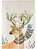 """KARUILU home Japanese Noren Doorway Curtain Tapestry with Wapiti 33.5"""" Width x 47.2"""" Long (Christmas Elk)"""