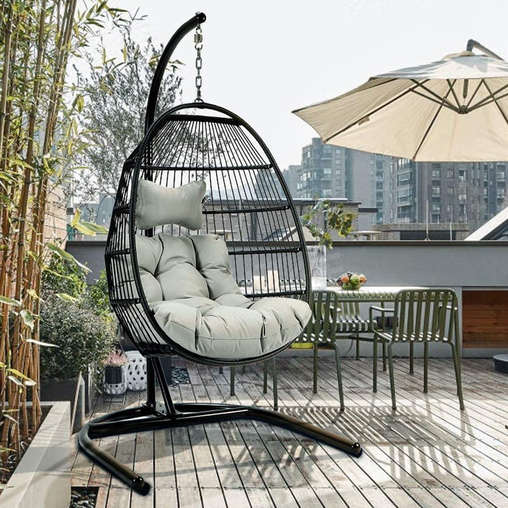 Amazon Com Tome Foldable Swing Chair With Stand Rattan Wicker Hanging Egg Chair Hammock Chair With Cushion And Pillow For Indoor Outdoor Bedroom Patio Garden Garden Outdoor