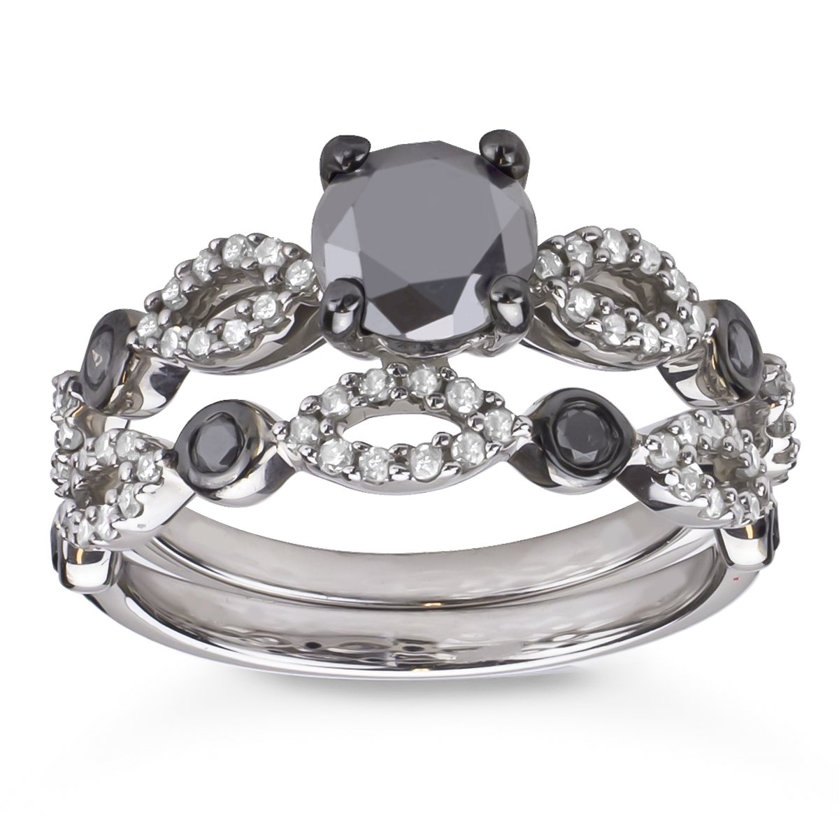 Sterling Silver 1 1/2CTTW TDW Black and White Diamond Bridal Ring Set
