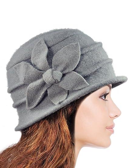 256f7c4b218c3 Dahlia Women s Daisy Flower Wool Cloche Bucket Hat - Light Gray ...