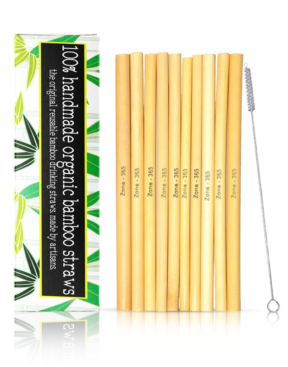 """Zone - 365 Bamboo Straws with Reusable Brush and Gift Box 
