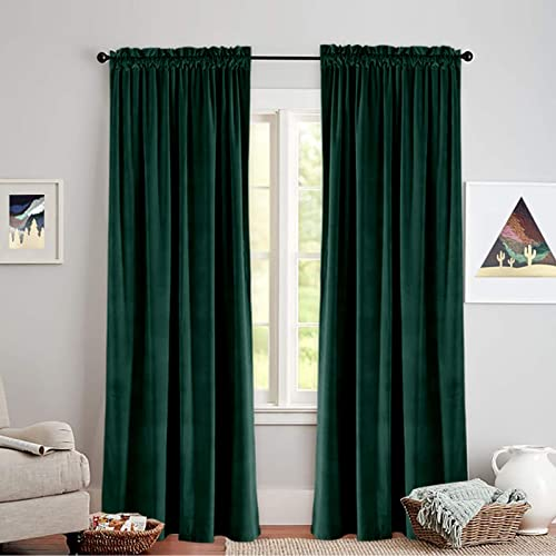 Vangao Velvet Curtains Living Room 108 Inches Long Rod Pocket Room Darkening Window Treatment Set Bedroom Room Darkening Drapes 2 Panels,Green
