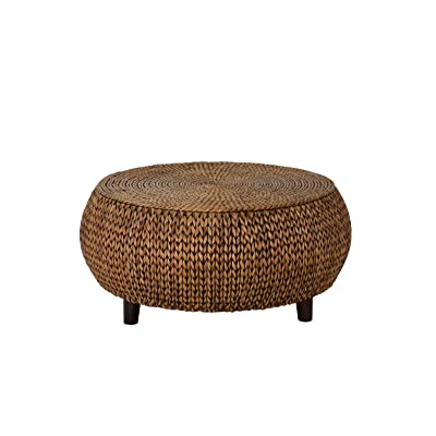 Amazoncom Round Coffee Table Woven Banana Leaf Accent Cocktail - Banana leaf coffee table