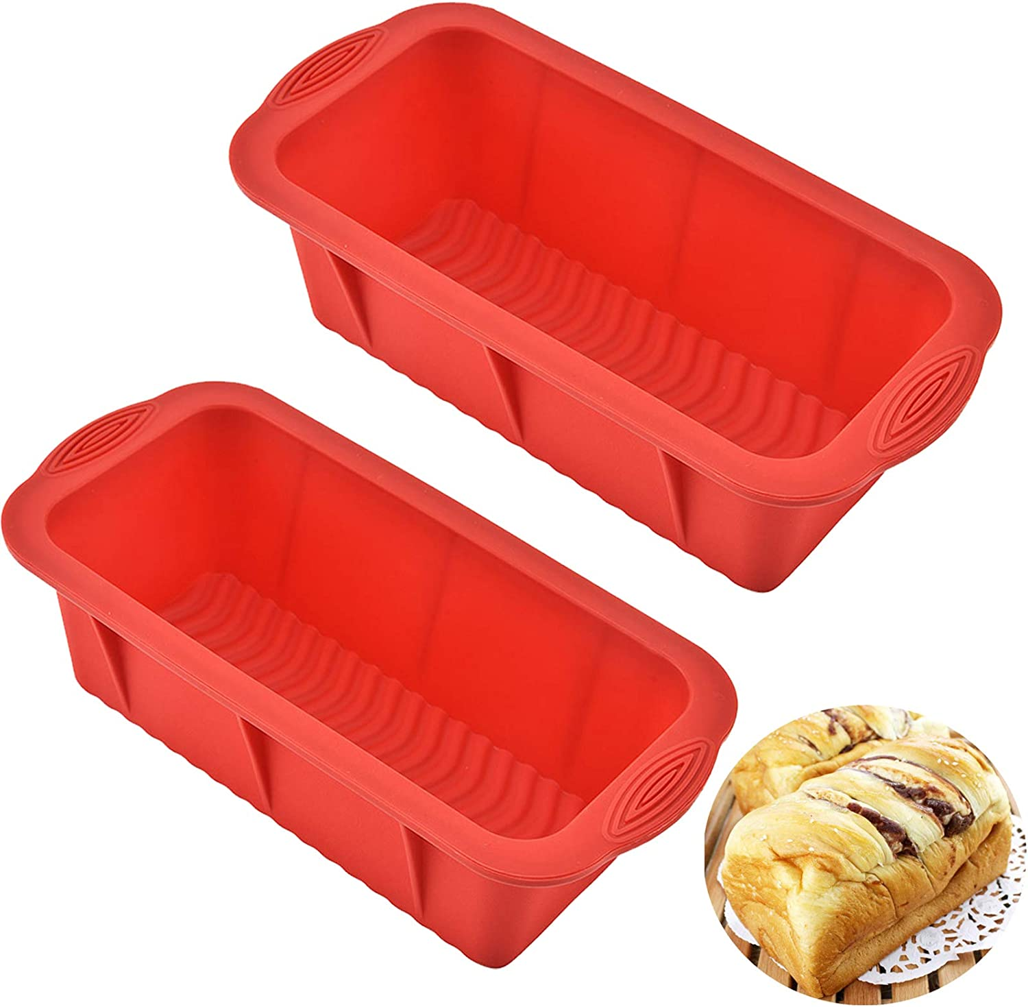 Silicone Loaf Pan for Baking Bread Toast Molds Value 2 Pcs Reusable Food Grade Bakeware Pans for Homemade Breads Cakes (2 Pack & Red)