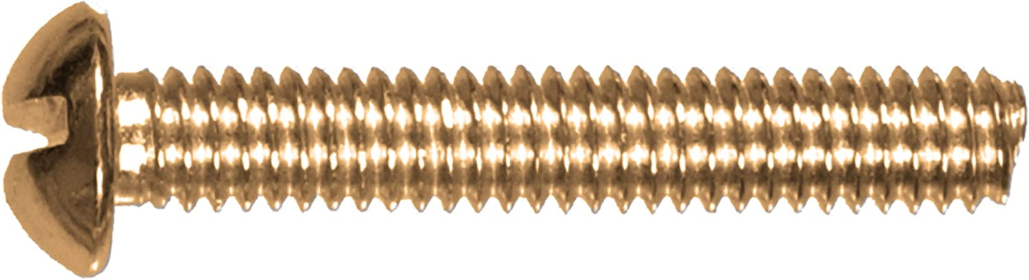 The Hillman Group 2025 10-24 x 1-1//4 Brass Round Head Slotted Machine Screw 20-Pack