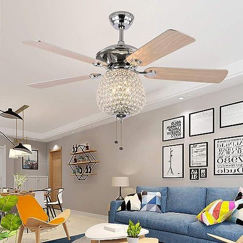 RainierLight Crystal 52 inch Ceiling Fan with LED Light Kit 5 Wood Reversible Blades 3 Speed Silent Energy Saving Fan Decoration