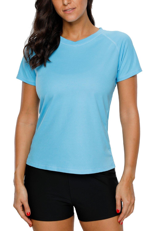 Vegatos Womens Short Sleeve Swim Shirt UV Protection Workout Shirts Athletic Top by Vegatos (Image #2)