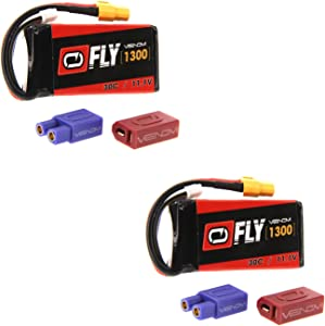 Venom Racing 25028x2 Fly 30C 3S 1300mAh 11.1V LiPo Batteries with Uni 2.0 Plug (2 Packs)