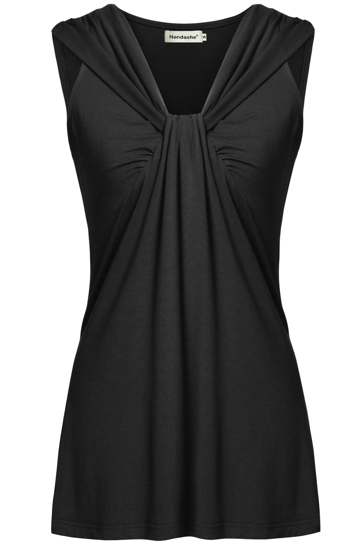 Nandashe Plus Size Summer Tops, Summer New Young Women V Neckline Casual Empire Waist Solid Pleat Hemline Flowy Dress Shirts Summer Long Tunic Camis Undershirts Relaxed Attires Black L