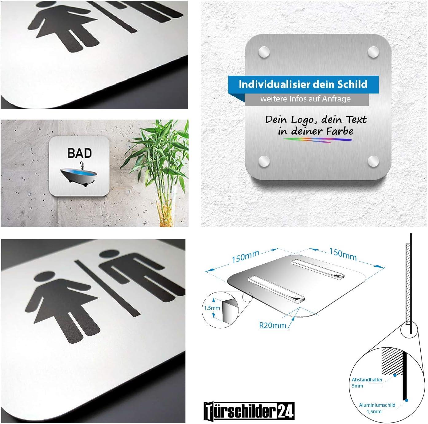 /• G/äste WC /• In der Gr/ö/ße 150 x 150mm /• Besonderheit unsichtbare 5mm Abstandhalter verleihen dem T/ürschild einen exklusiven schwebe Effekt WC Toiletten T/ürschilder der Extraklasse Aluminium